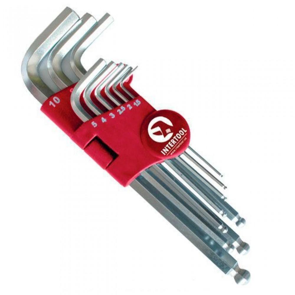 Фото №1 - Набор Г-образных шестигранных ключей с шарообразным наконечником, 9 ед.,1,5-10 мм, Cr-V, 55 HRC Big INTERTOOL HT-0603