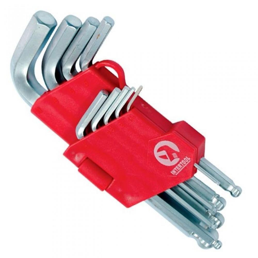 Фото №1 - Набор Г-образных шестигранных ключей с шарообразным наконечником, 9 ед.,1,5-10 мм, Cr-V, 55 HRC Small INTERTOOL HT-0605