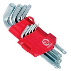 Фото - Набор Г-образных шестигранных ключей с шарообразным наконечником, 9 ед.,1,5-10 мм, Cr-V, 55 HRC Small INTERTOOL HT-0605
