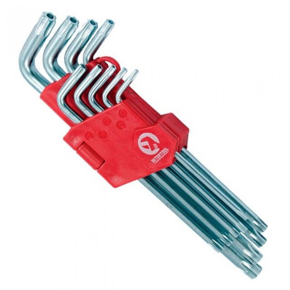 Фото №1 - Набор Г-образных ключей TORX с отверстием 9 шт, Т10-Т50, Cr-V, Big INTERTOOL HT-0606