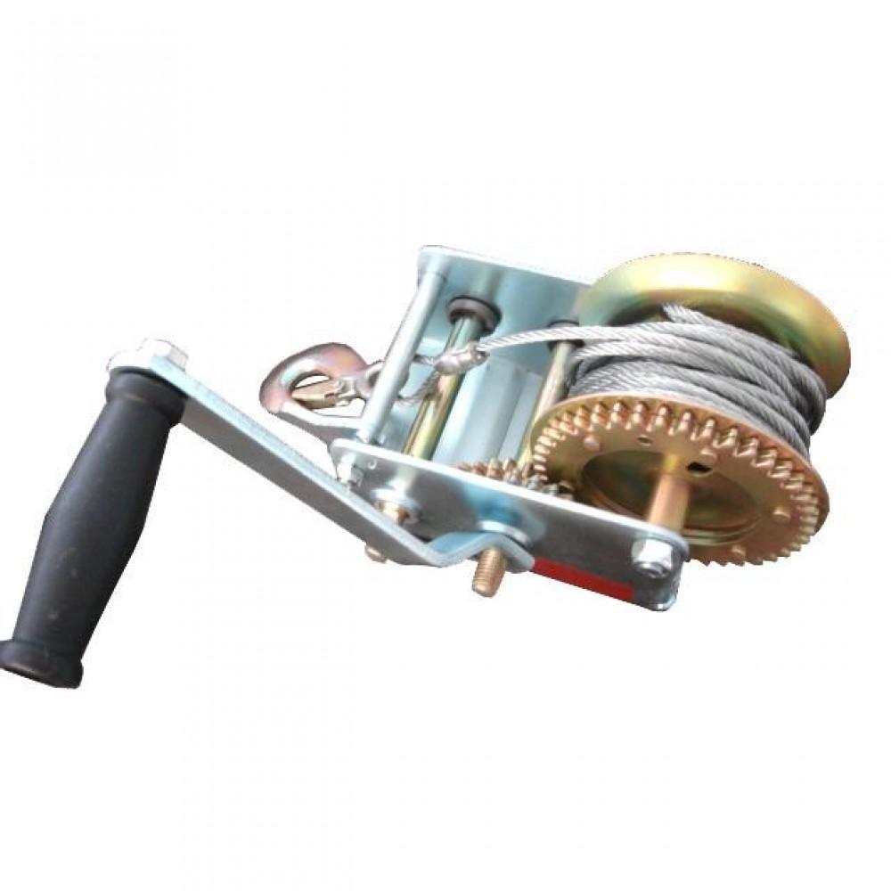 Фото №1 - Лебедка рычажная барабанная стальной трос тяговое усилие 900 кг INTERTOOL GT1455