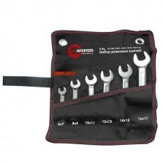 Фото - Набор рожковых ключей 6 шт. 6-17 мм Cr-V, покрытие сатин-хром; PROF DIN3113 INTERTOOL XT-1101