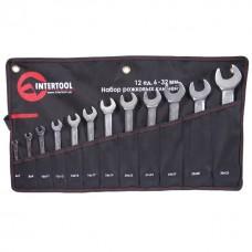 Фото - Набор рожковых ключей 12 шт. 6-32 мм Cr-V, покрытие сатин-хром; PROF DIN3113 INTERTOOL XT-1103