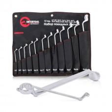 Фото - Набор накидных ключей 12 шт., 6-32 мм Cr-V, покрытие сатин-хром; PROF DIN3113 INTERTOOL XT-1203