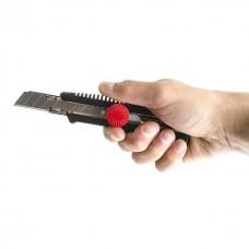 Фото - Нож с металлической направляющей под лезвие 18 мм с винтовым фиксатором INTERTOOL HT-0502