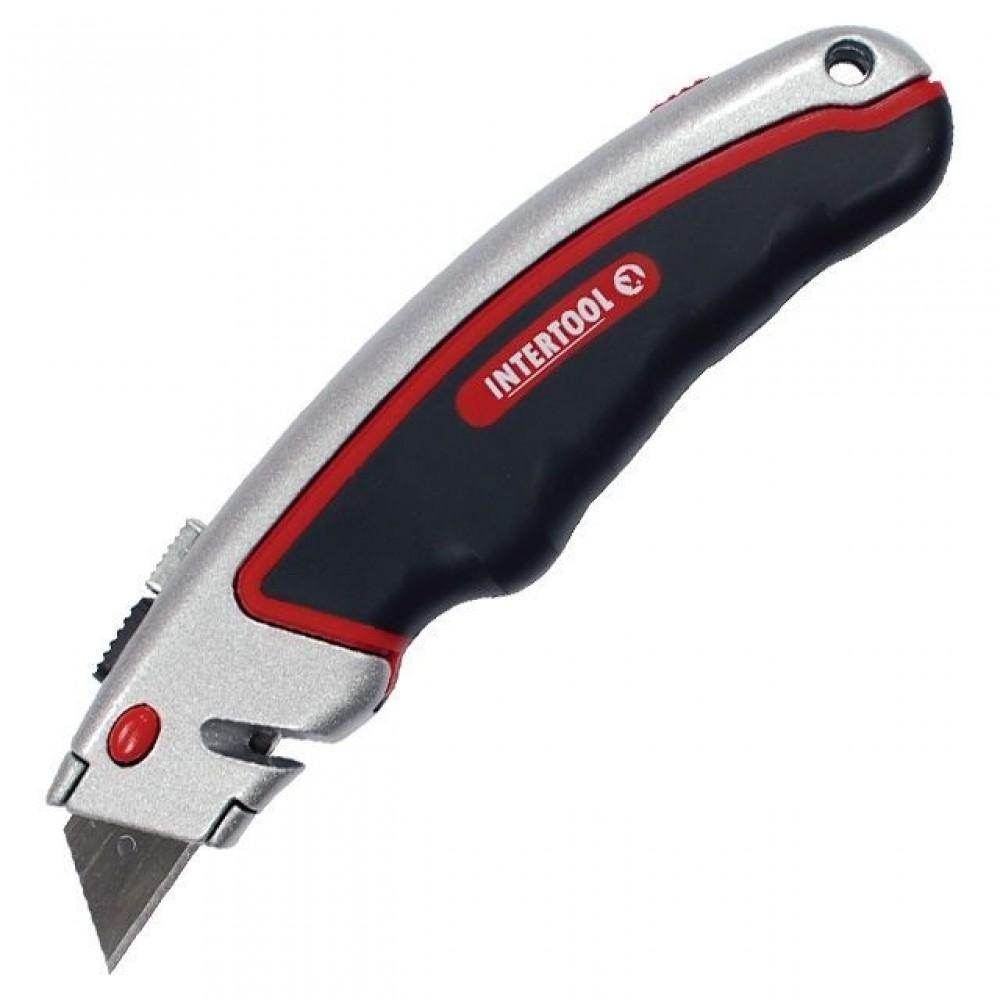 Фото №1 - Нож с выдвижным трапециевидным лезвием, металлический корпус, прорезиненный. INTERTOOL HT-0516