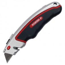 Фото - Нож с выдвижным трапециевидным лезвием, металлический корпус, прорезиненный. INTERTOOL HT-0516