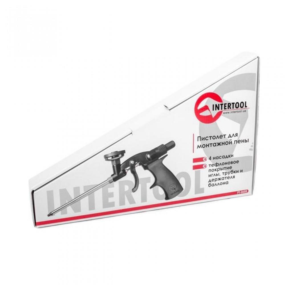 Фото №1 - Пистолет для монтажной пены с тефлоновым покрытием иглы, трубки и держателя баллона + 4 нас. INTERTOOL PT-0605