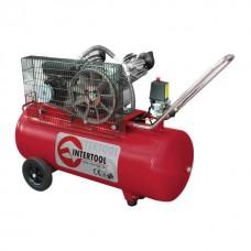 Фото - Компрессор 100 л, 3 кВт, 220 В, 8 атм, 500 л/мин, 2 цилиндра INTERTOOL PT-0014