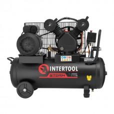 Фото - Компрессор 50 л, 3 кВт, 220 В, 10 атм, 500 л/мин, 2 цилиндра INTERTOOL PT-0016