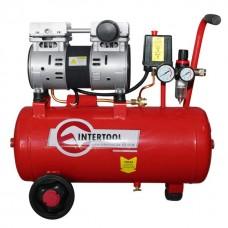 Фото - Компрессор 24 л, 1.1 кВт, 220 В, 8 атм, 145 л/мин, малошумный, безмасляный, 2 цилиндра INTERTOOL PT-0022