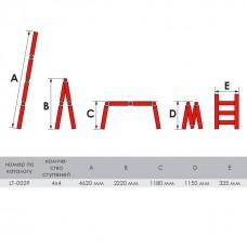 Фото - Лестница алюминиевая мультифункциональная трансформер 4x4 ступ. 4,62 м INTERTOOL LT-0029