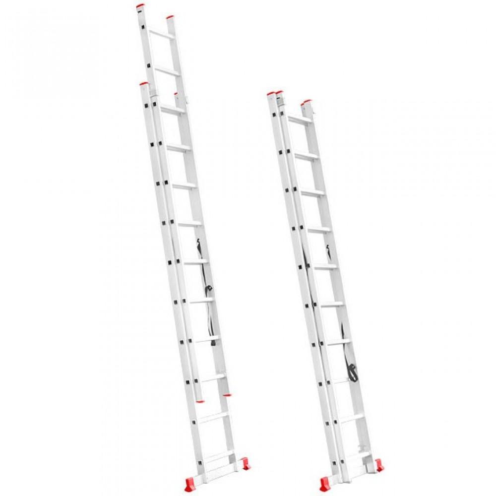Фото №1 - Лестница алюминиевая 2-х секционная универсальная раскладная 2x10 ступ. 4,81 м INTERTOOL LT-0210