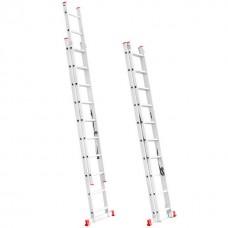 Фото - Лестница алюминиевая 2-х секционная универсальная раскладная 2x10 ступ. 4,81 м INTERTOOL LT-0210