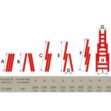 Фото - Лестница алюминиевая 3-х секционная универсальная раскладная 3*8ступ. 5.09м INTERTOOL LT-0308