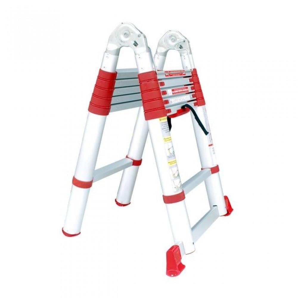 Фото №1 - Лестница алюминиевая телескопическая раскладная универсальная 12 ступ., 3,85 м INTERTOOL LT-3039