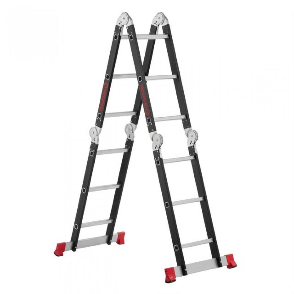 Фото №1 - Лестница мультифункциональная трансформер 4х3ступени, стальной профиль, 3380мм, 150 кг INTERTOOL LT-0023