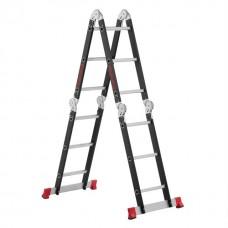 Фото - Лестница мультифункциональная трансформер 4х3ступени, стальной профиль, 3380мм, 150 кг INTERTOOL LT-0023