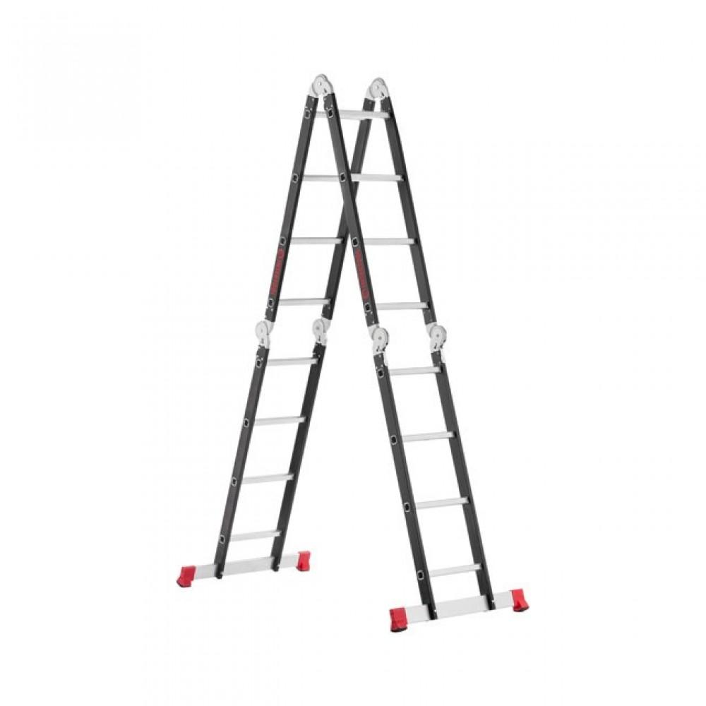 Фото №1 - Лестница мультифункциональная трансформер 4х4ступени, стальной профиль, 4450мм, 150 кг INTERTOOL LT-0024