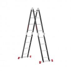 Фото - Лестница мультифункциональная трансформер 4х4ступени, стальной профиль, 4450мм, 150 кг INTERTOOL LT-0024