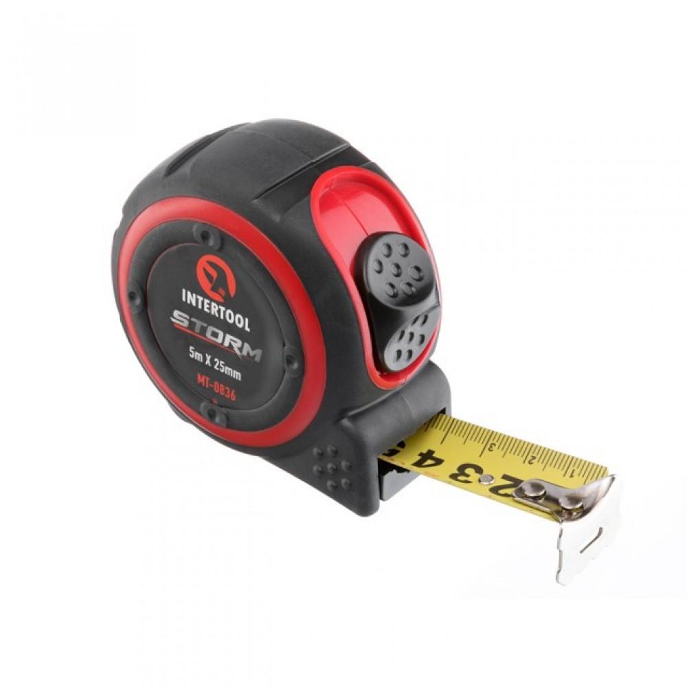 Фото №1 - Рулетка с металлическим полотном 5м*25мм, нейлоновое покрытие полотна STORM INTERTOOL MT-0836