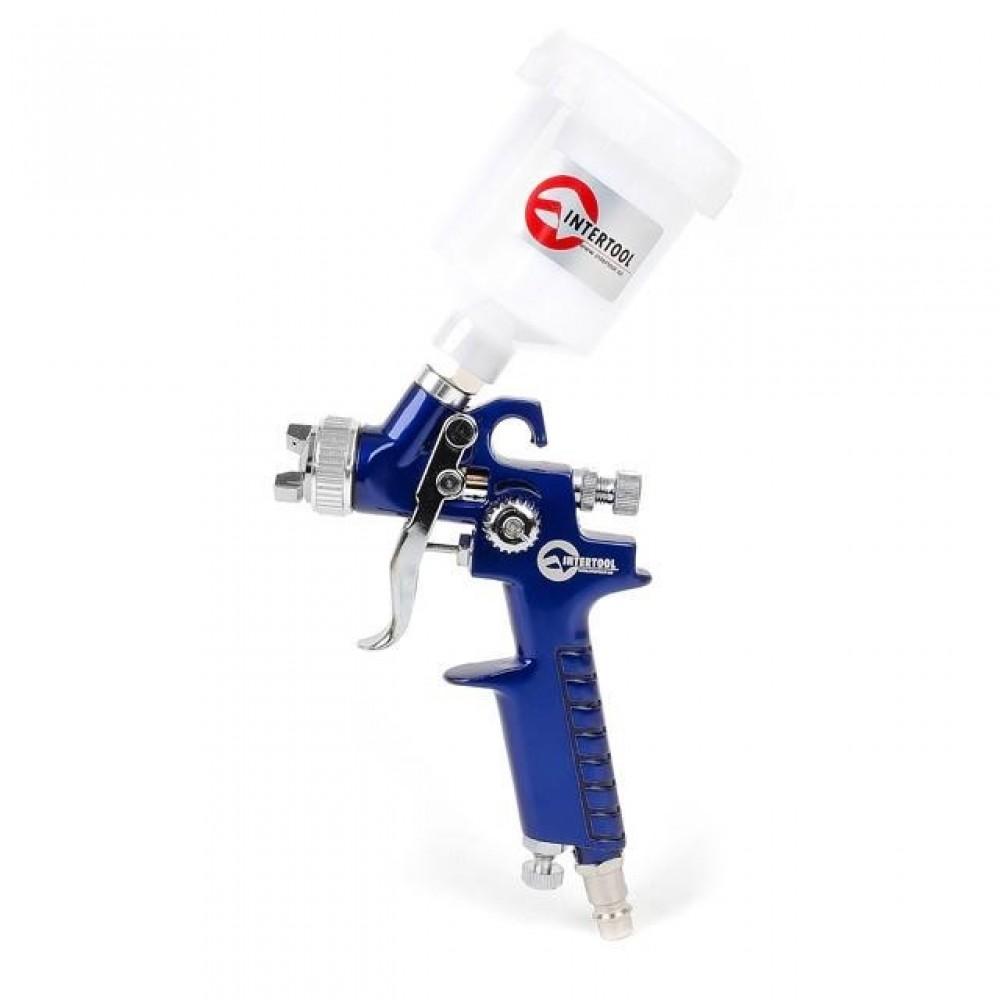 Фото №1 - Краскопульт пневматический HVLP MINI, форсунка 1.0мм, верхний пластиковый бачок 125мл., 3бар INTERTOOL PT-0121