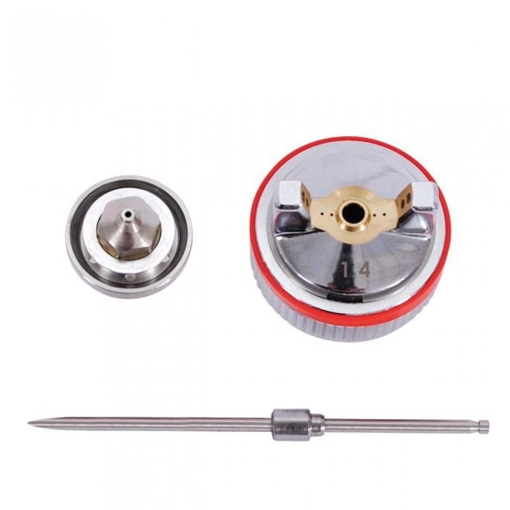 Фото №1 - Комплект форсунки 1.4мм для краскопультов HVLP II PT-0100, РТ-0105, РТ-0105D (дюза, воздушная головка, игла) INTERTOOL PT-2114