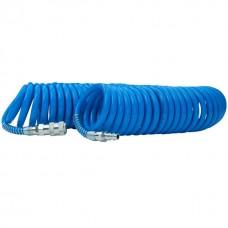 Фото - Шланг спиральный полиуретановый 6,5х10 мм, 15 м с быстроразъемными соединениями INTERTOOL PT-1712