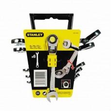 Фото - Набор ключей комбинированных с трещоткой и карданом (8-10-12-13-17-19 мм) 4-91-444 Stanley