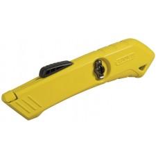 Фото - Нож 18мм трапеция 165мм выдвижное лезвие с возвратной пружиной, отсек для лезвий, безопасный