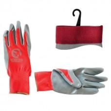 """Фото - Перчатка красная вязанная синтетическая, покрытая серым нитрилом на ладони 10"""" INTERTOOL SP-0124"""