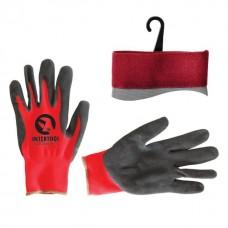 """Фото - Перчатка красная вязанная синтетическая, покрытая серым пористым нитрилом на ладони 10"""" INTERTOOL SP-0127"""