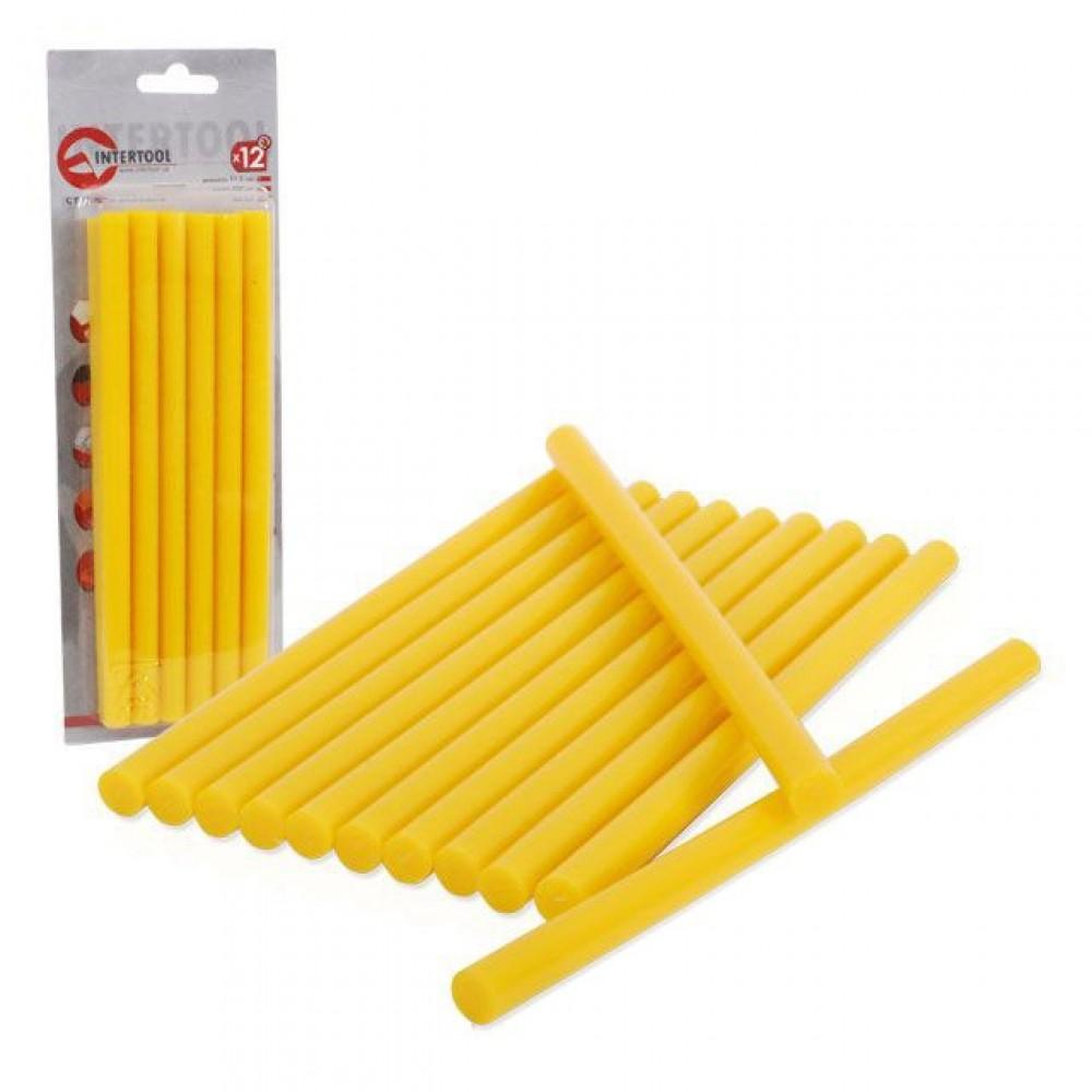 Фото №1 - Комплект желтых клеевых стержней 11,2 мм x 200 мм, 12 шт. INTERTOOL RT-1021