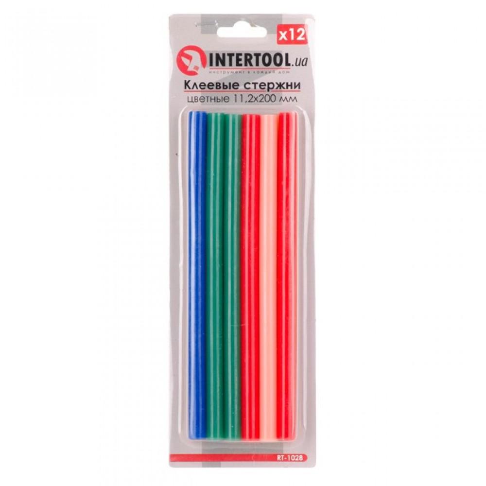Фото №1 - Комплект цветных клеевых стержней 11.2мм*200мм, 12шт INTERTOOL RT-1028