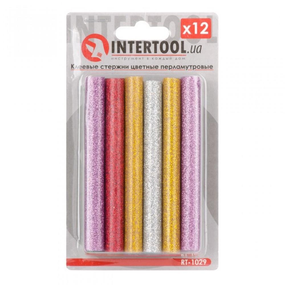 Фото №1 - Комплект цветных перламутровых клеевых стержней 11.2мм*100мм, 12шт INTERTOOL RT-1029