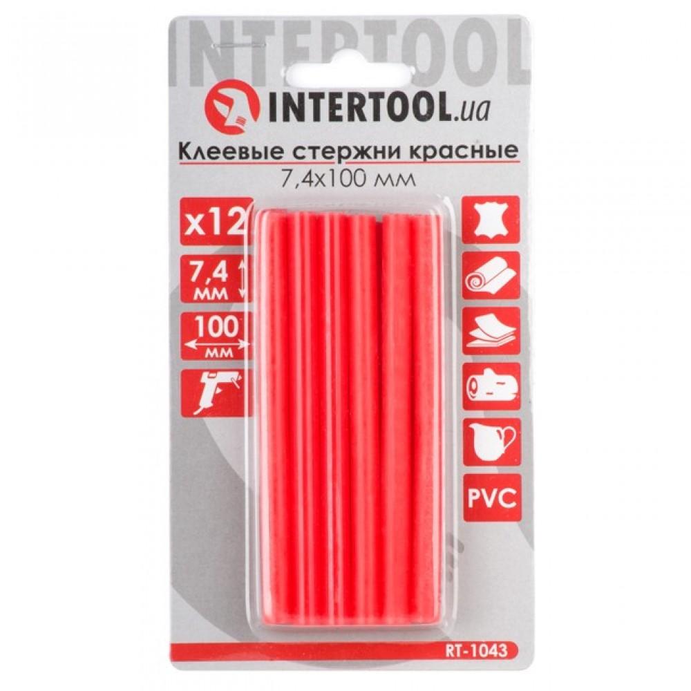 Фото №1 - Комплект красных клеевых стержней 7.4мм*100мм, 12шт. INTERTOOL RT-1043