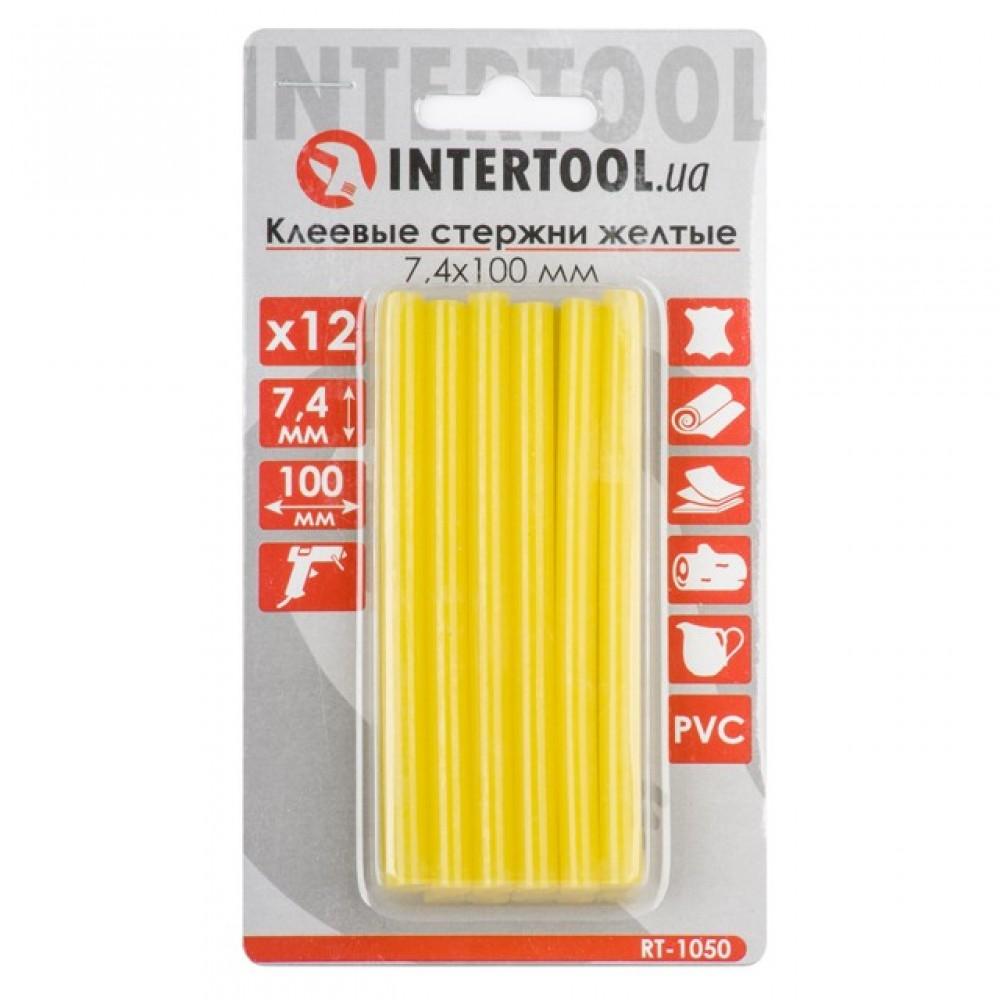 Фото №1 - Комплект желтых клеевых стержней 7.4мм*100мм, 12шт. INTERTOOL RT-1050