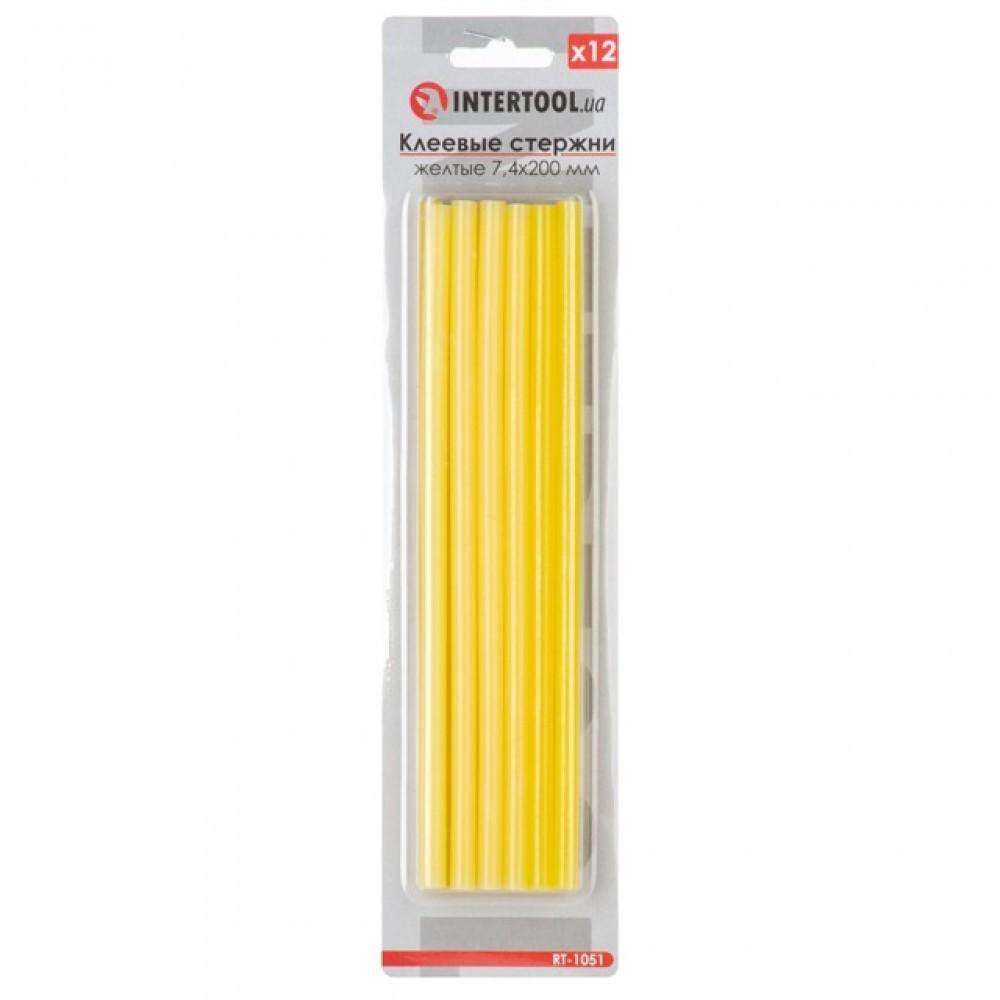 Фото №1 - Комплект желтых клеевых стержней 7.4мм*200мм, 12шт. INTERTOOL RT-1051