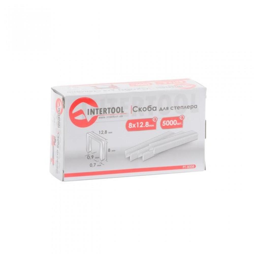 Фото №1 - Скоба для степлера РТ-1610 8x12,8 мм (0,9x0,7 мм) 5000 шт/упак. INTERTOOL PT-8008
