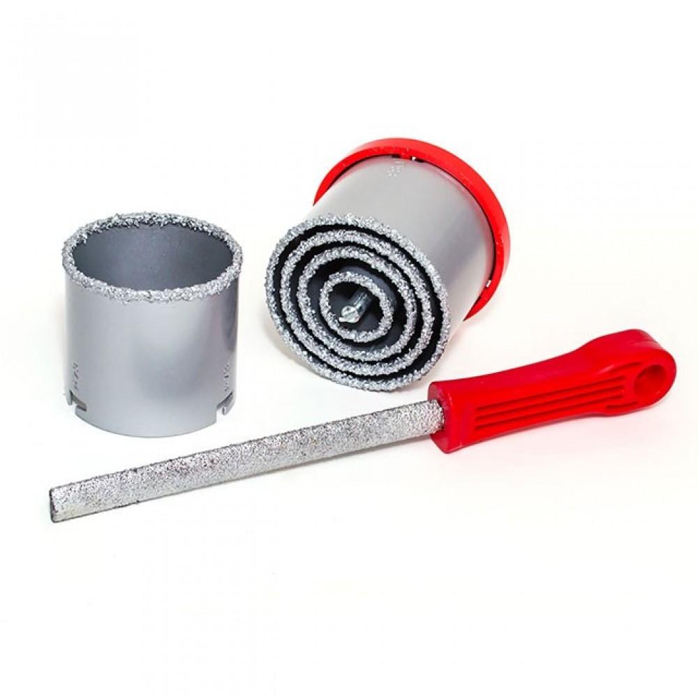 Фото №1 - Набор корончатых сверл для плитки 5 ед. 33-83 мм, вольфрамовое напыление + напильник и чемодан INTERTOOL SD-0428