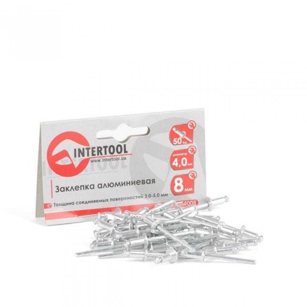 Фото №1 - Заклепка алюминиевая 4,0x8,0 мм, упаковка 50 шт. INTERTOOL RT-4008