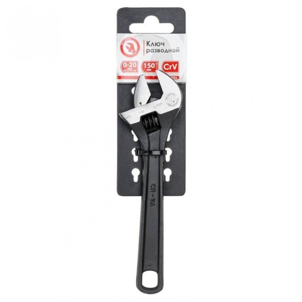 Фото №1 - Ключ разводной 150мм, Cr-V, черный, фосфатированный, INTERTOOL XT-0056