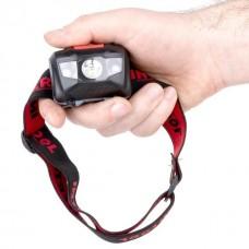 Фото - Фонарь налобный светодиодный, пылевлагозащищенный корпус, четыре режима работы, 1 Вт + 2 LED, батарейки 3 ААА. INTERTOOL LB-0302