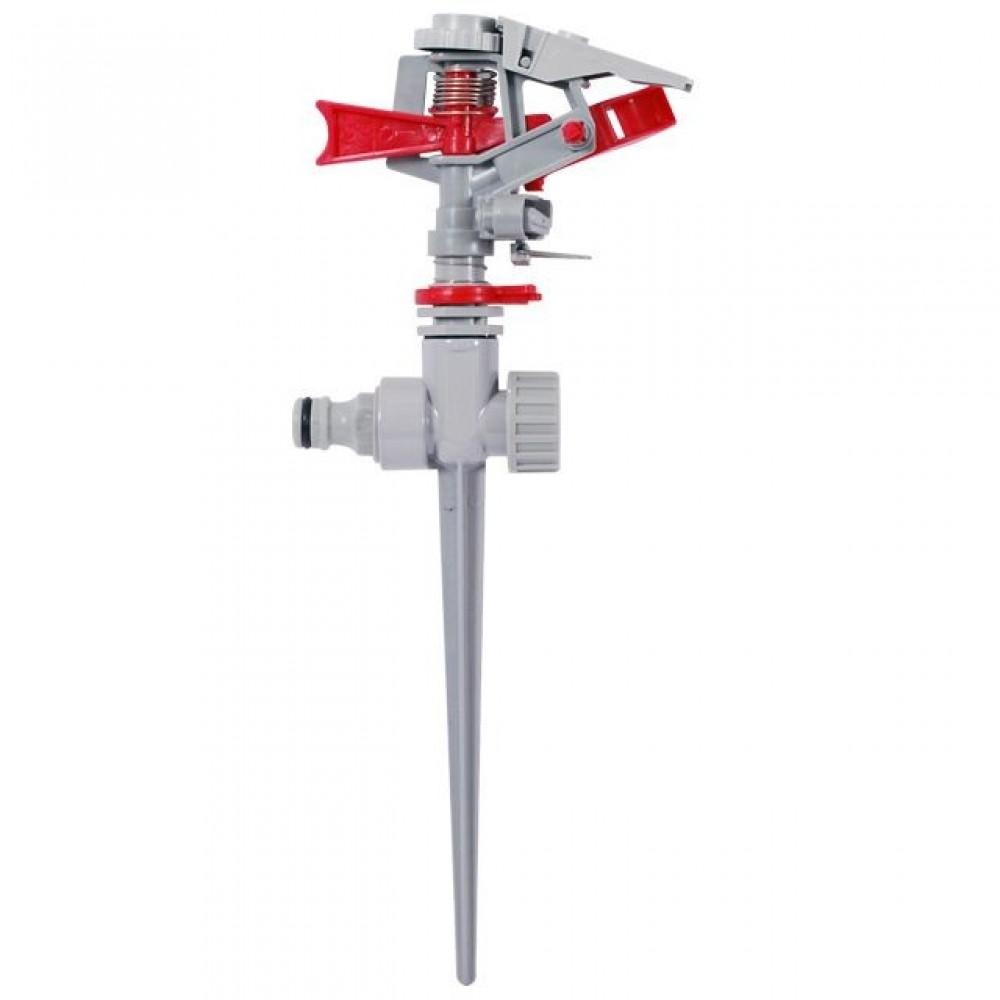 Фото №1 - Дождеватель пульсирующий с полной или частичной зоной полива на костыле, круг/сектор полива до 12м Brass, Zinc alloy INTERTOOL GE-0053
