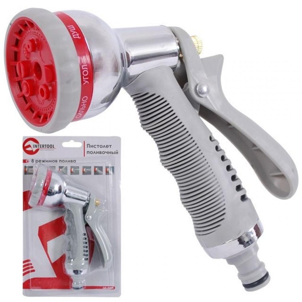 Фото №1 - Пистолет-распылитель для полива хромированный, 8 функций INTERTOOL GE-0004