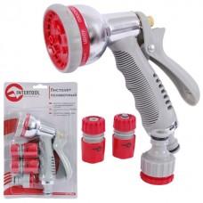 Фото - Пистолет-распылитель для полива хромированный, 8 функций + адаптер с резьбой 1/2', 3/4' и 2 коннектора для шланга 1/2' INTERTOOL GE-0005
