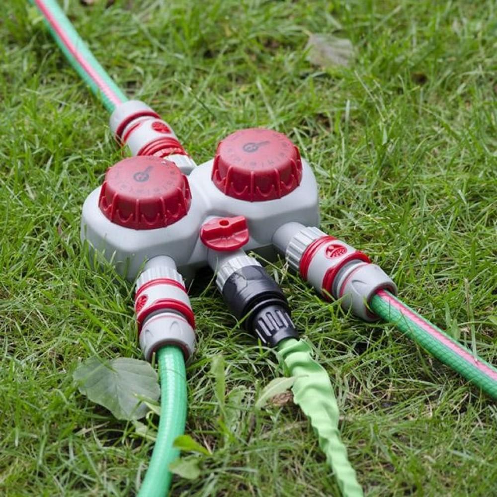 Фото №1 - Таймер подачи воды для полива, 2х канальный, автоматический с фильтром + 3 адаптера с резьбой 1/2' INTERTOOL GE-2012