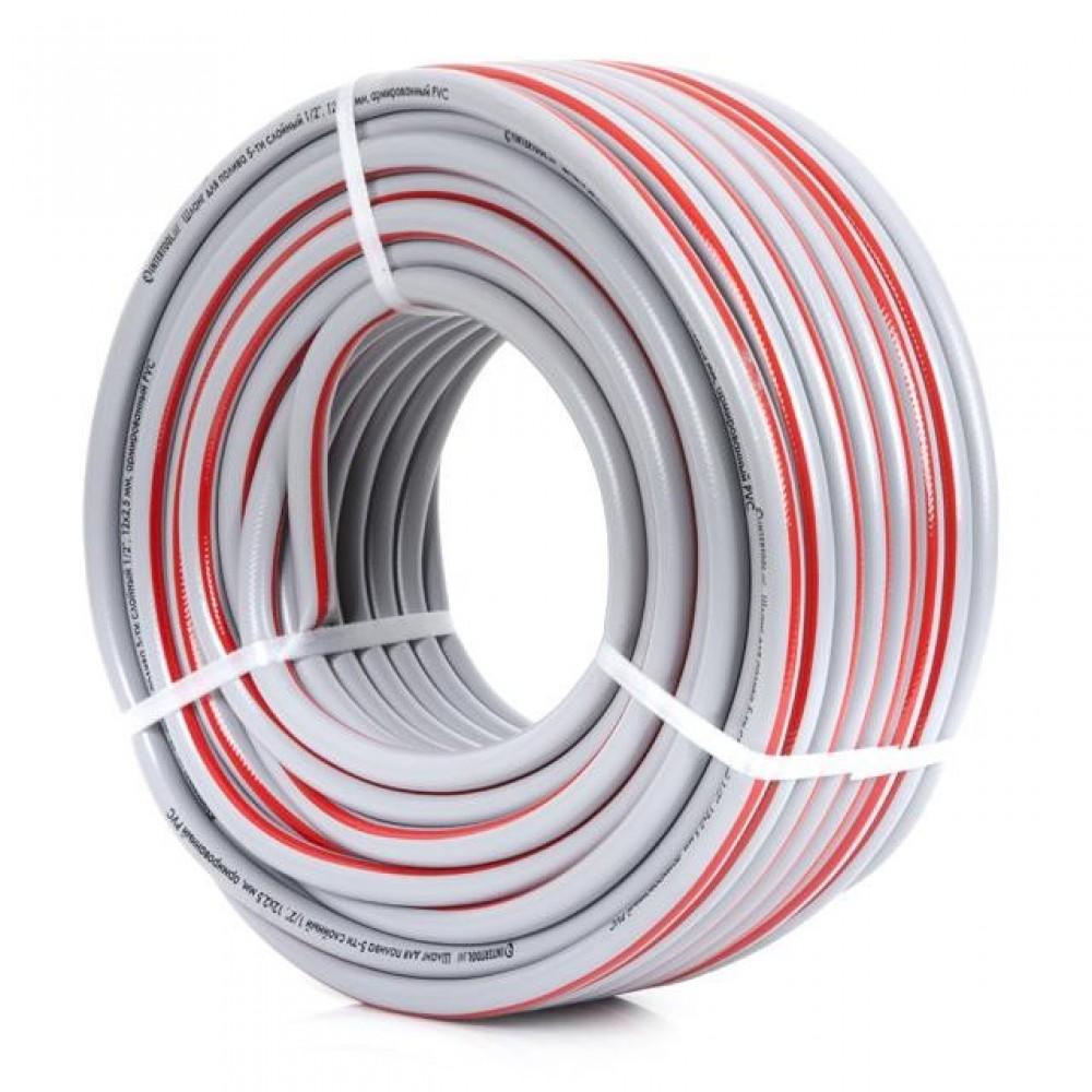 Фото №1 - Шланг для полива 5-ти слойный 1/2', 50м, армированный PVC INTERTOOL GE-4135