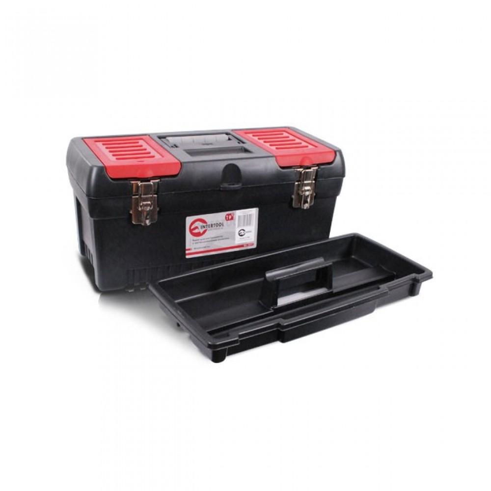 "Фото №1 - Ящик для инструментов с металлическими замками, 19"" 483x242x240 мм INTERTOOL BX-1019"