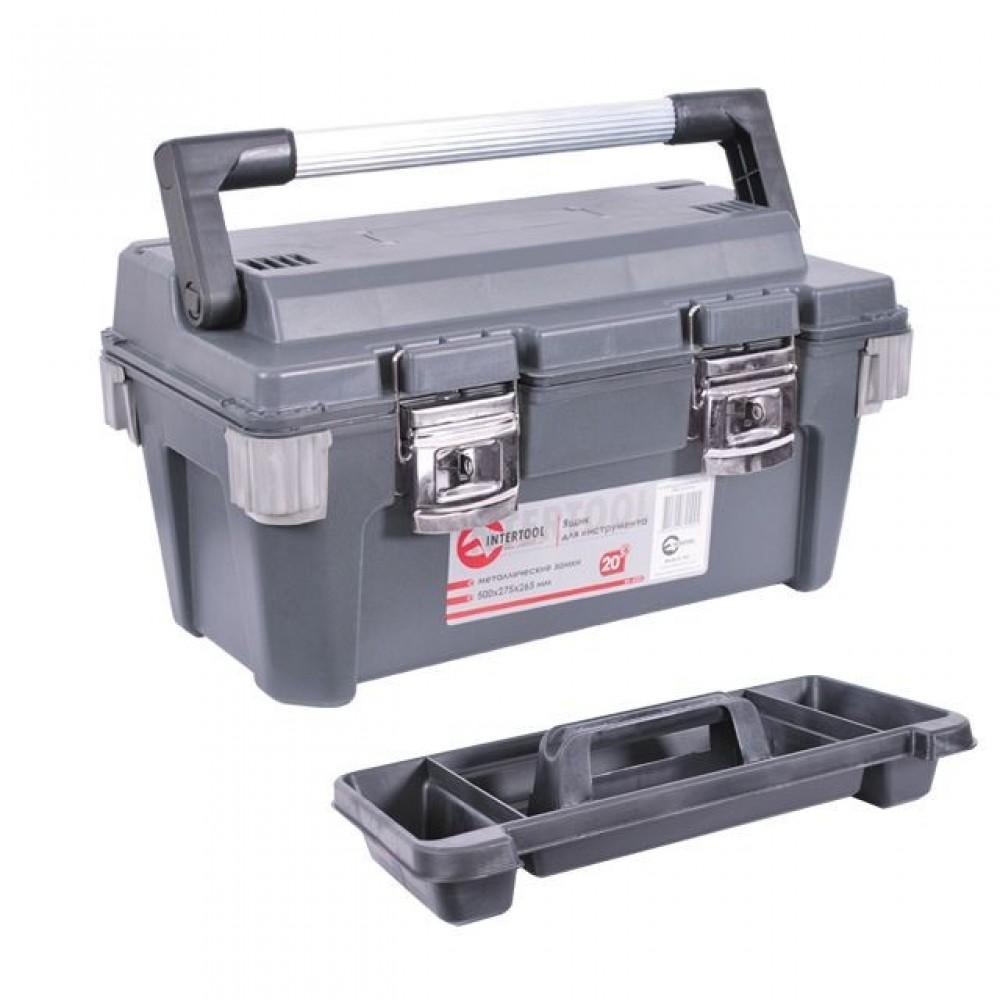 Фото №1 - Ящик для инструмента с металлическими замками 20' 500x275x265 мм INTERTOOL BX-6020